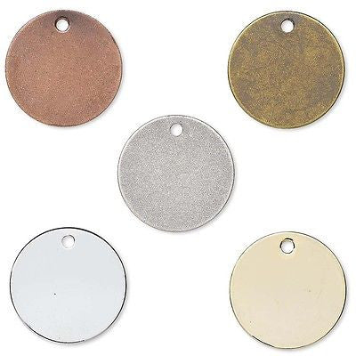 Flat Round Circle Blank Coin Engravable Stamping Charms Plated Brass Metal~Sold Individually