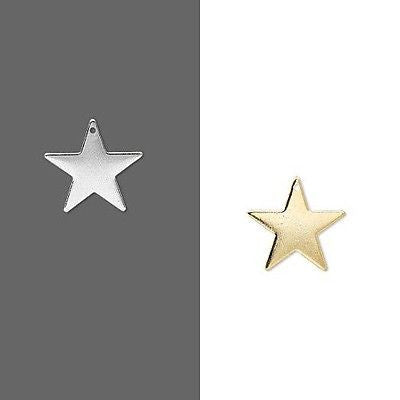 17mm Five Point Star Flat Focal Drop Charms Plated Over Brass Base Metal~Sold Individually