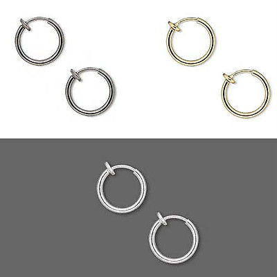 1/2 inch Little Clip on Hoop Earrings W/ Spring Closure for Pierced Look~Sold Individually