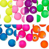 Big Bright Matte Neon Colored 14mm Round Plastic Acrylic Beads With 2.5mm Hole~Sold Individually