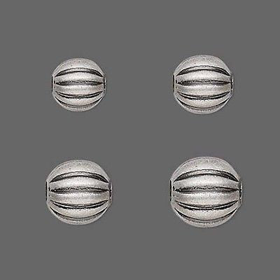 Antique Silver Plated Fluted Corrugated Round Spacer Beads Sizes Small - Big~Sold Individually