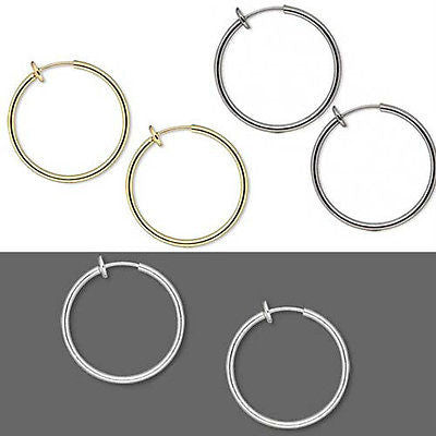 1 inch Clip on Hoop Earrings With Spring Closure for a Pierced Look~Sold Individually