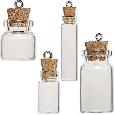 Little Clear Empty Glass Bottle Keepsake Jar Charm Pendant W/ Cork Lid & Loop~Sold Individually