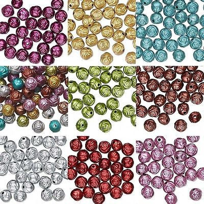 Rose Shaped 8mm Plastic Metallic Coated Acrylic Rosebud Flower Beads~Sold Individually