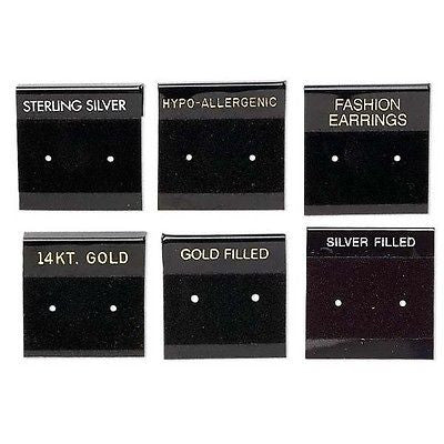 Black 1 Inch Square Printed Earring Display Cards w/ Hanging Tab & Velveteen~Sold Individually
