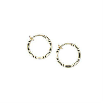 17mm Round Clip on Hoop Earrings With Spring Closure for a Pierced Look~Sold Individually