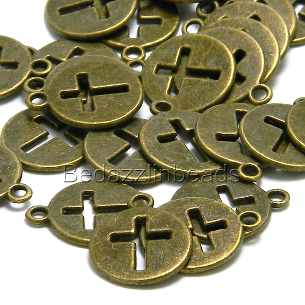Antique Bronze Cut Out Cross 5/8 in Flat Round Coin Charm Pewter Base Metal~Sold Individually