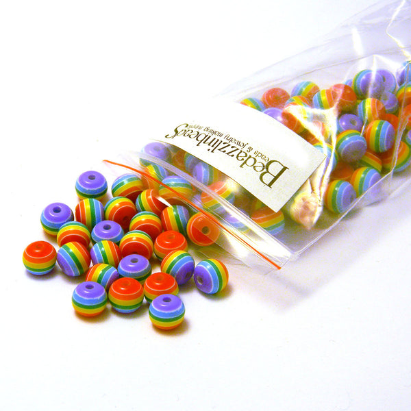 Rainbow Stripe 8mm Round Plastic Acrylic Resin Beads With Opaque Striped Lines~Sold Individually