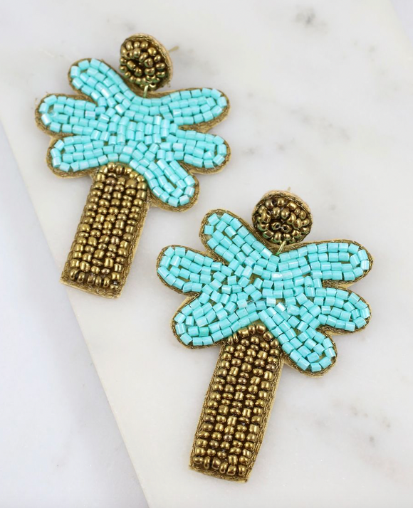 Palm Tree Beaded Earrings - Southern Divas Boutique