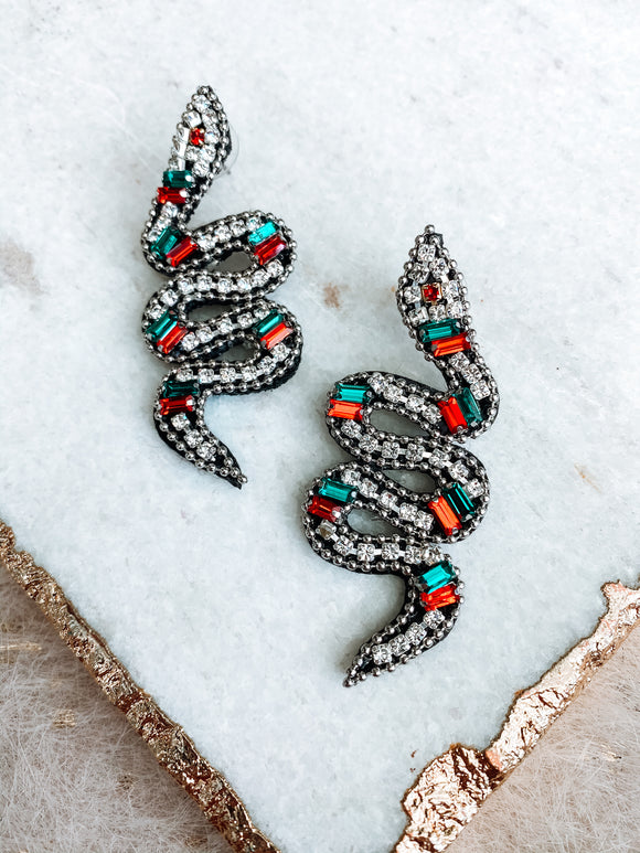 Red/Green Snake Earrings - Southern Divas Boutique