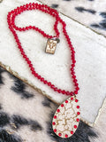 Pink Pinache - Red Beaded Necklace w/ Wood Pendant - Southern Divas Boutique
