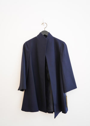 Navy Back Pleat Jacket