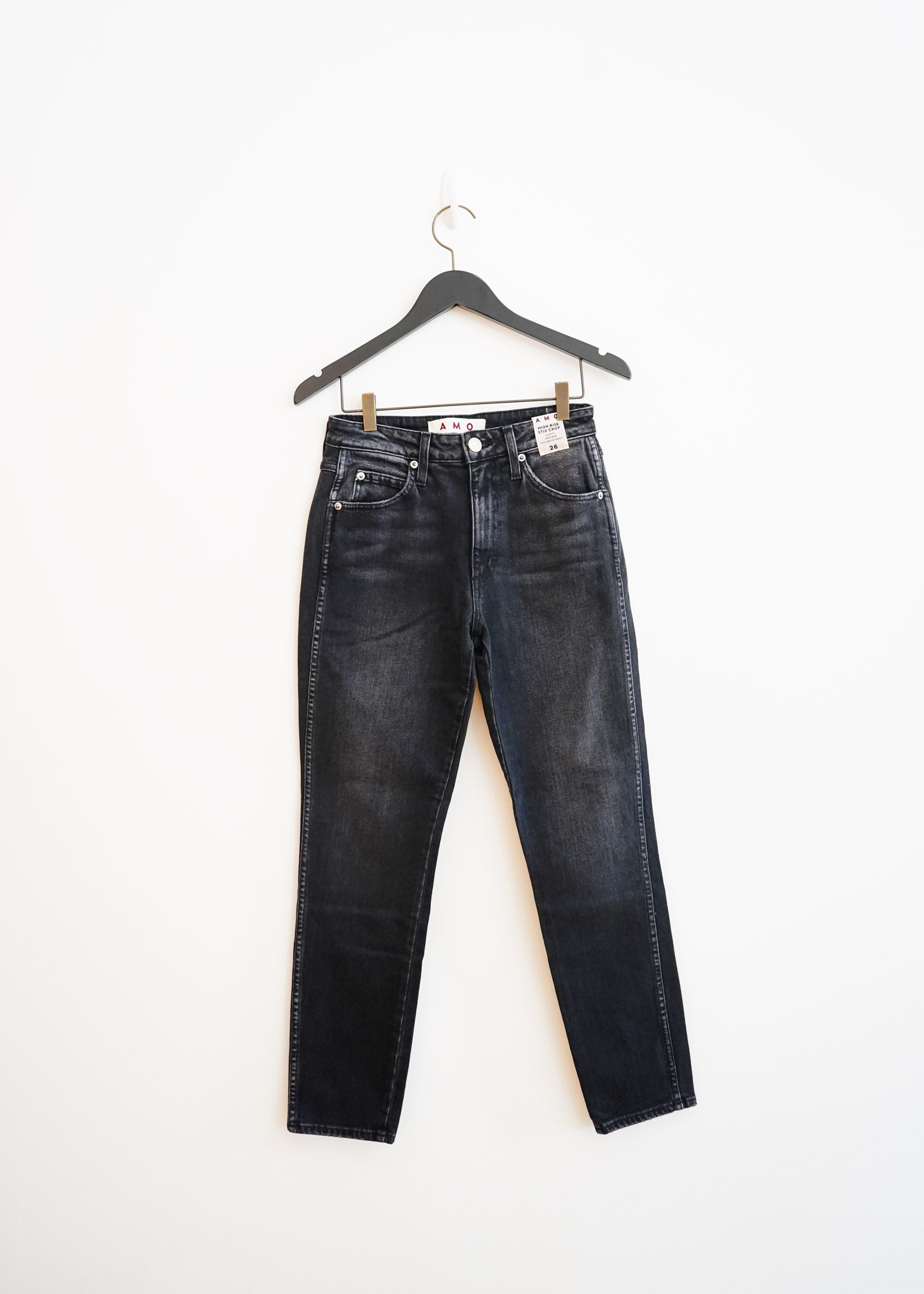 High Rise Stix Crop- Washed Black