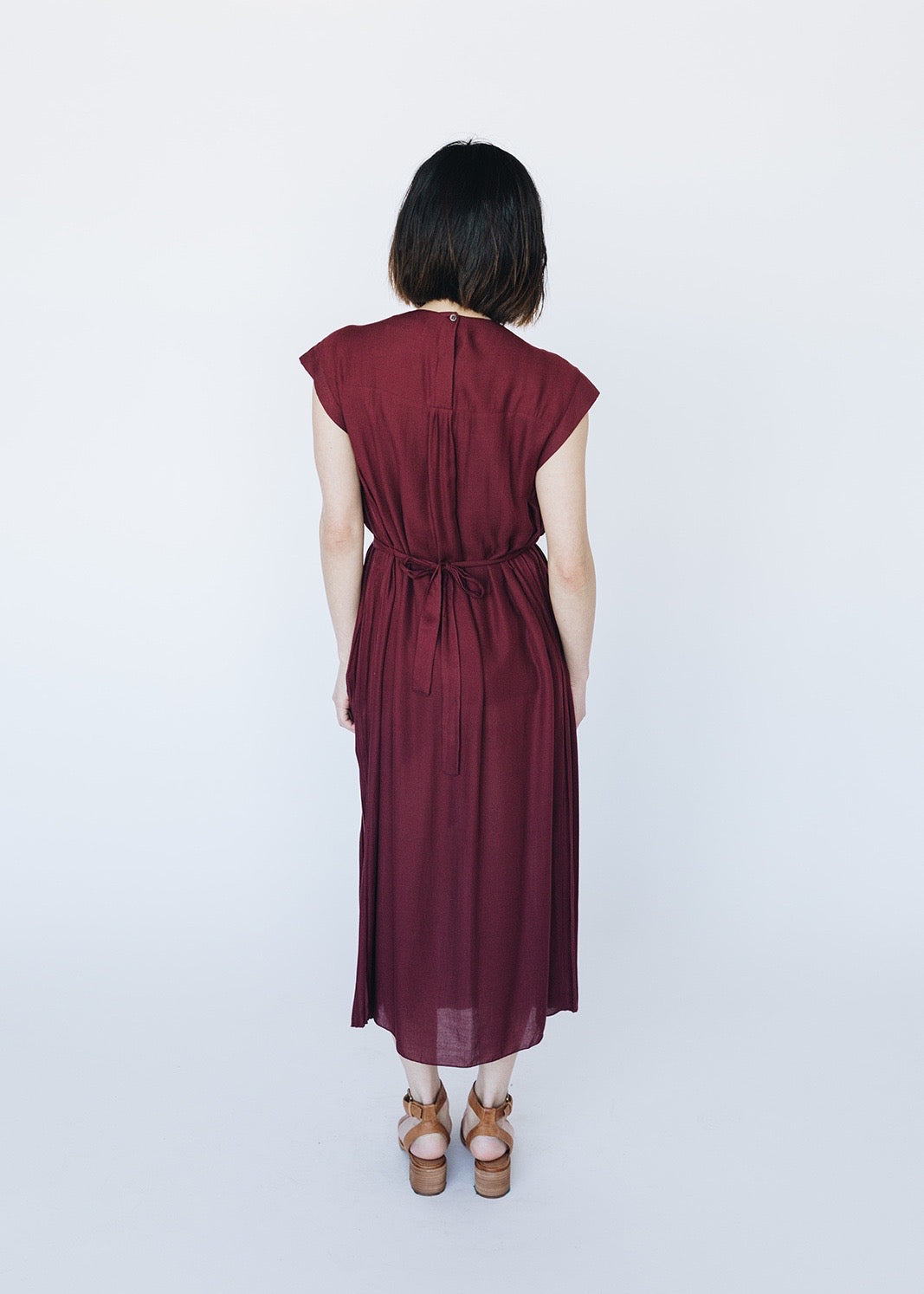 Pleated Midi Dress Wine