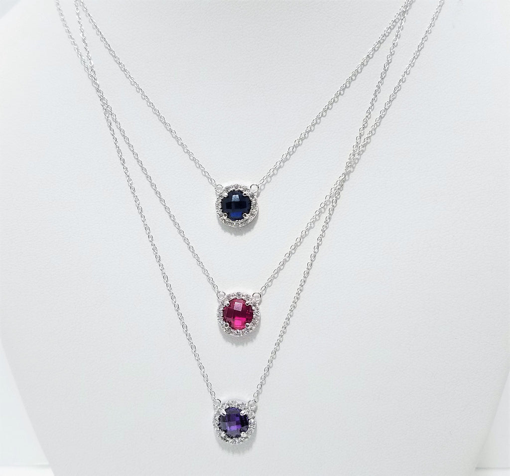 .925 Sterling Silver necklace with color crystal pendant