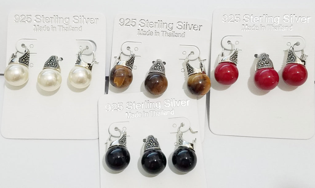 Sterling Silver and hematite earrings and pendant set