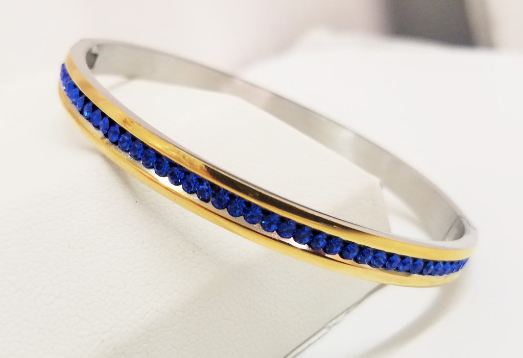 Stainless Steel and blue Zirconias bangle