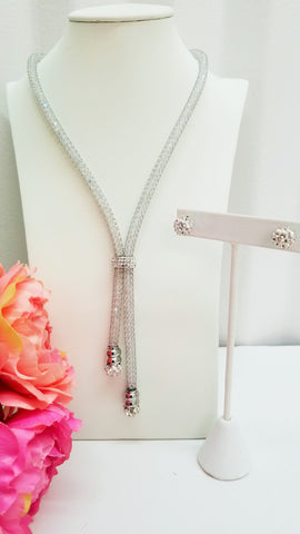 Stainless Steel and Crystal Necklace and Earrings Set