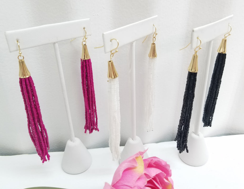 Seed Beads Long Tassel Earrings