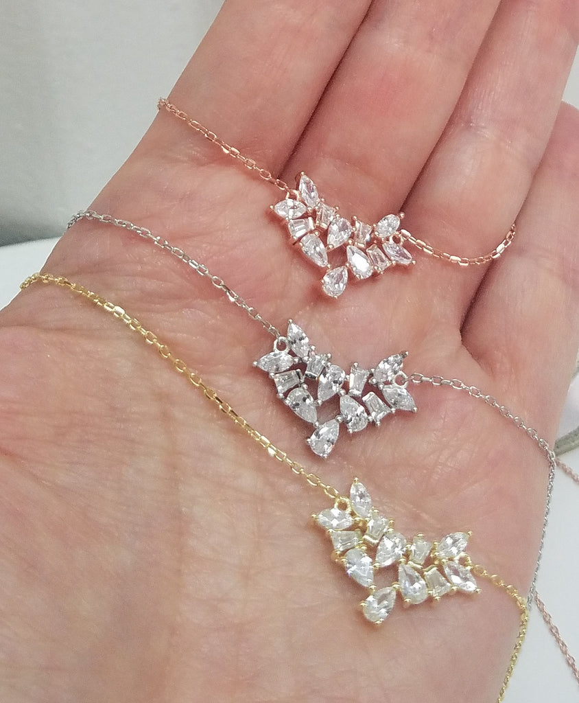 925 Sterling Silver and baguette CZ necklace