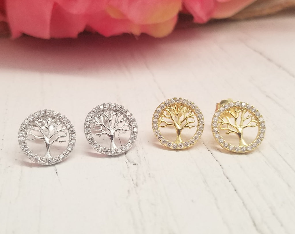 .925 Sterling Silver Tree Stud Earrings