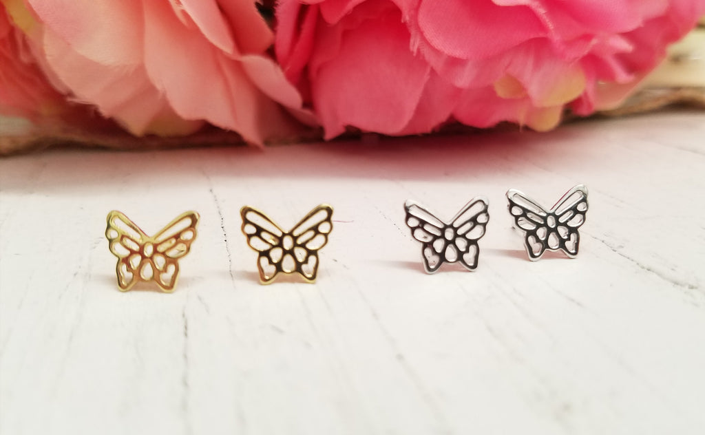 .925 Sterling Silver butterfly earrings