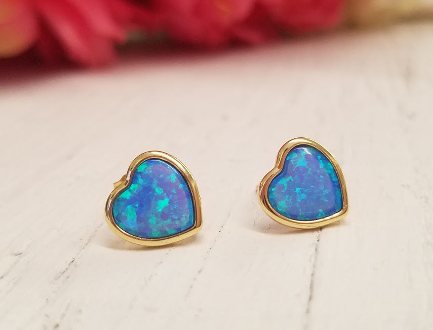 .925 Sterling Silver golden blue hearts stud earrings