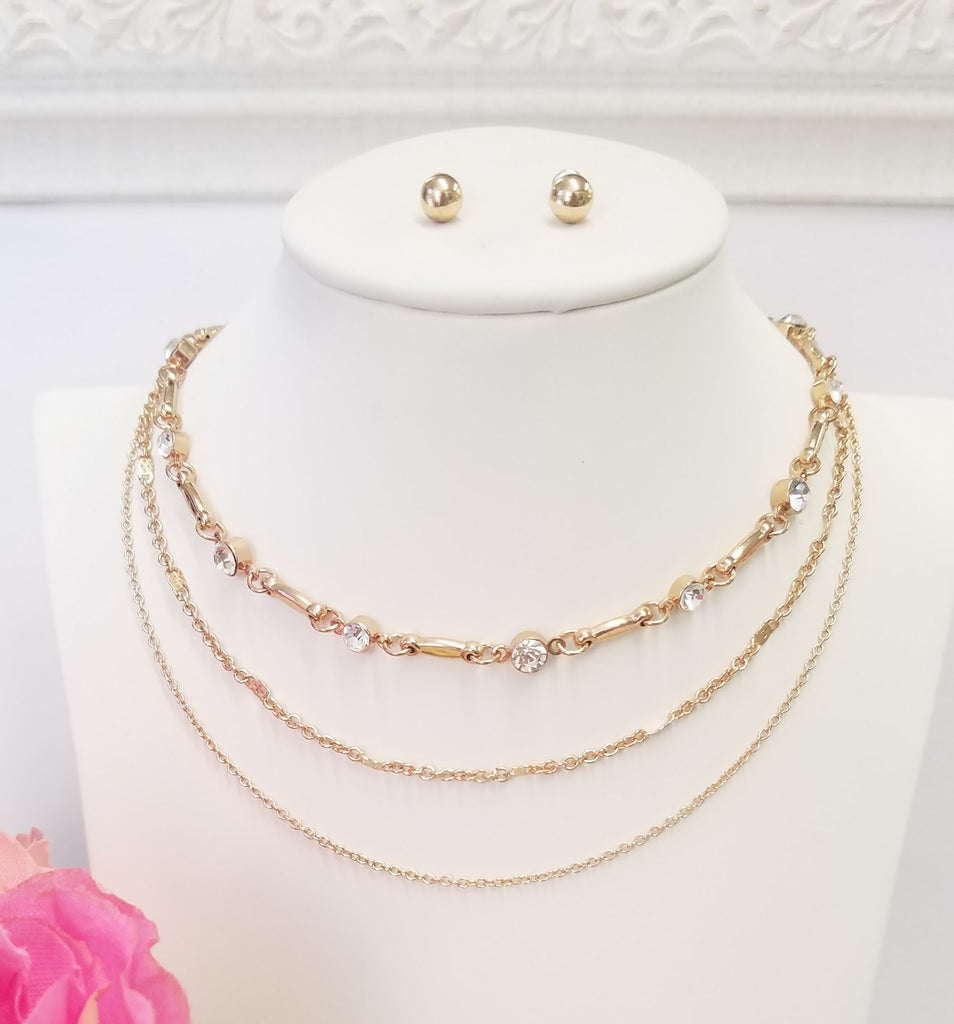 Fashion multi choker golden necklace set