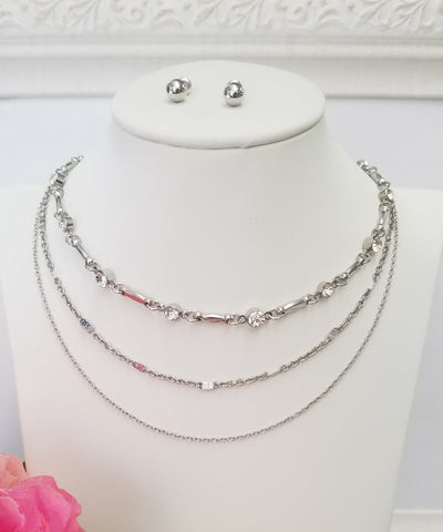 Fashion multi choker silver necklace set