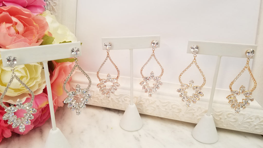 Fashion navette crown drop earrings