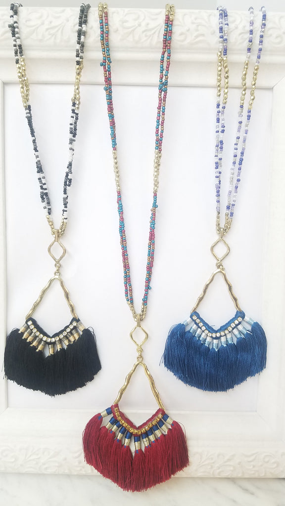 Fashion tassel necklace with rhinestones accent