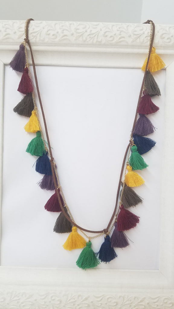 Multicolor tassel long necklace