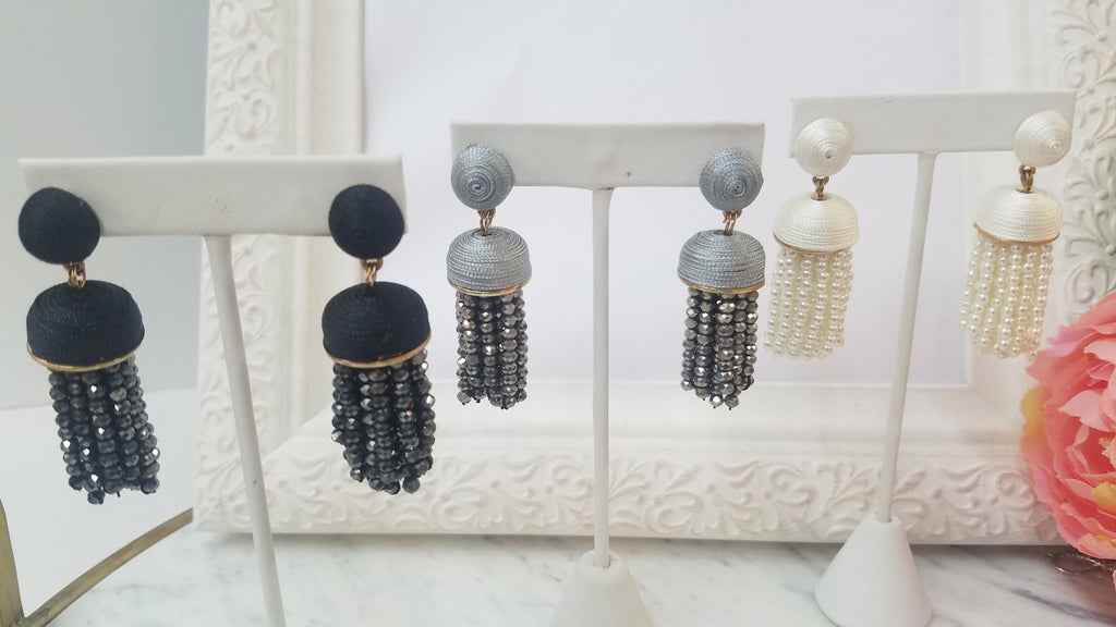 Fashion thread accent and crystal tassel earrings