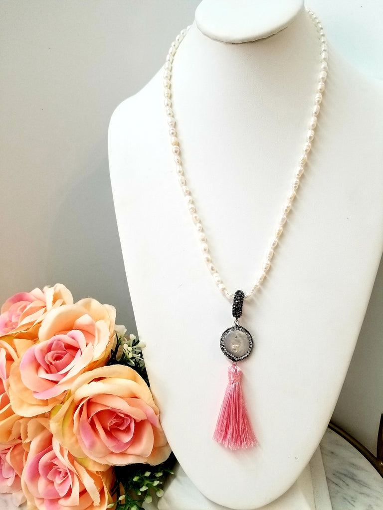 Natural Stone Freshwater Pearl with Pink Tassel Necklace