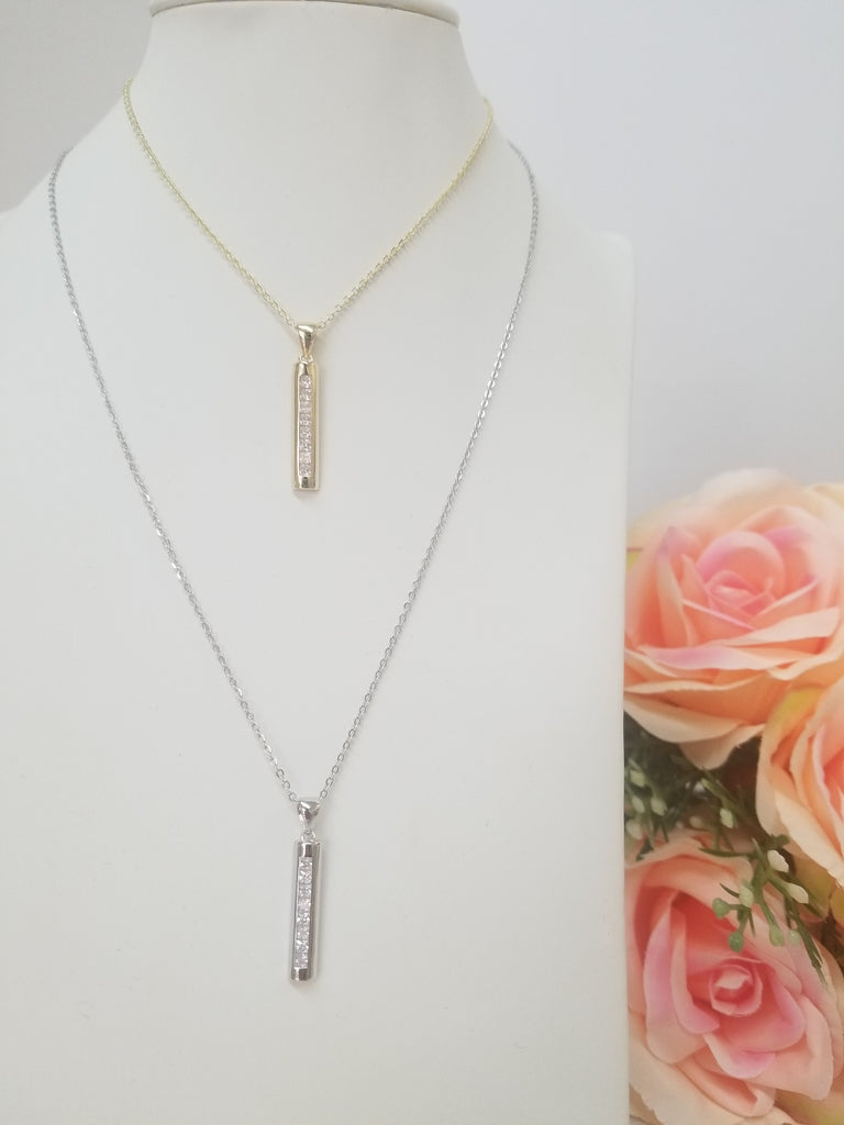 .925 Sterling Silver Bar Necklace