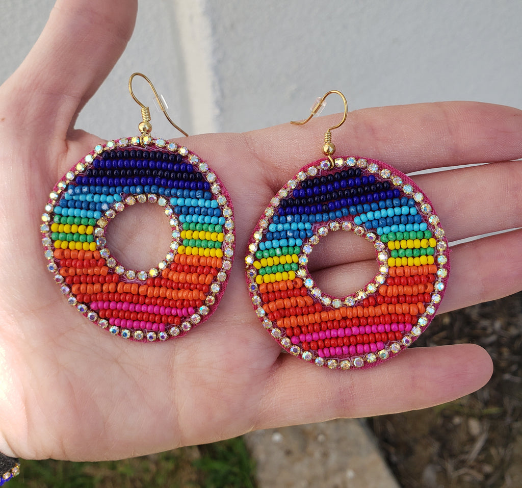 Fashion Multicolor Seed Bead Open Circle Earrings