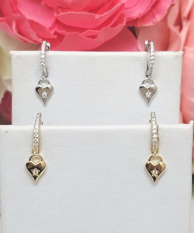 .925 Sterling silver and CZ dangling heart hoop earrings