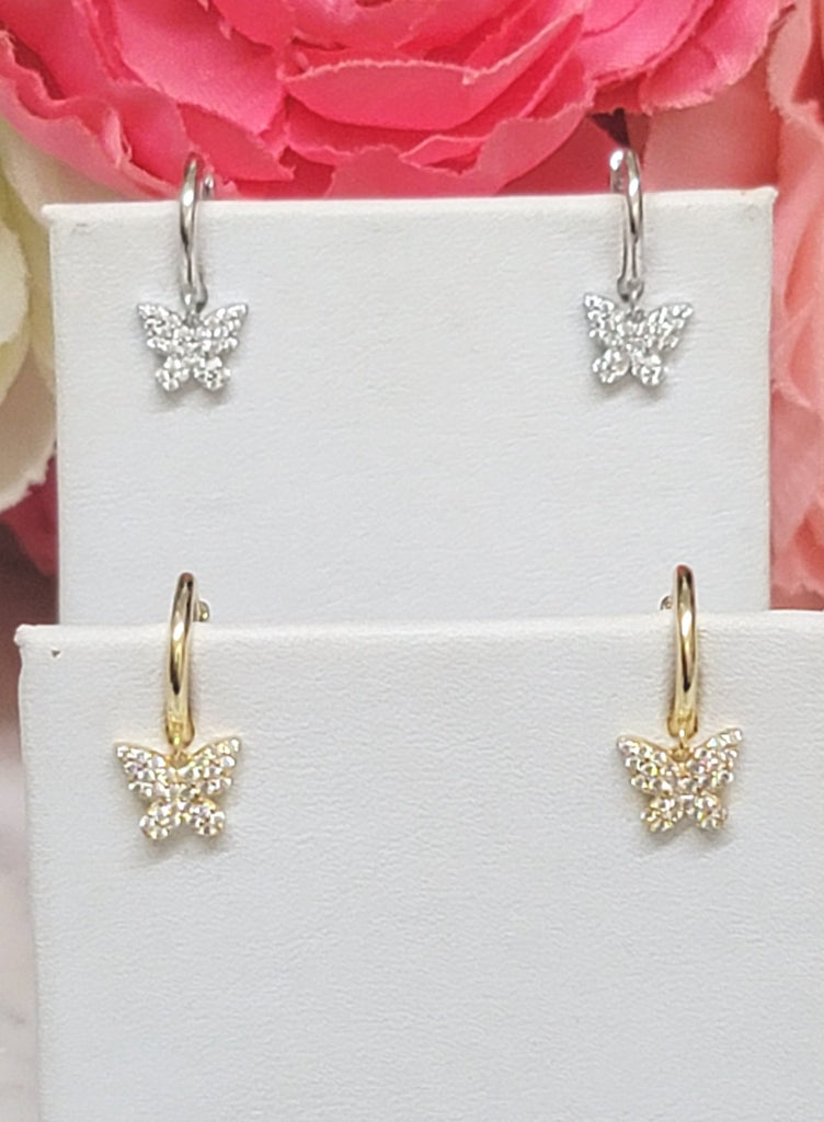 .925 sterling silver and CZ dangling butterfly  hoops