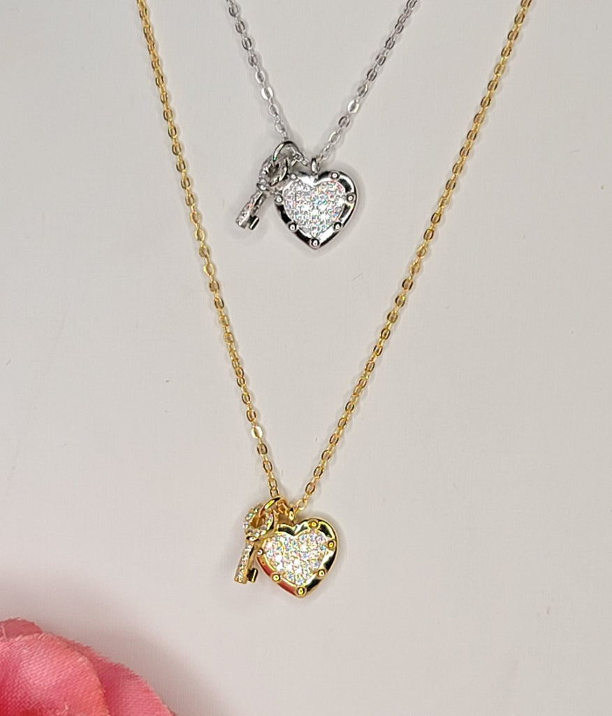 .925 Sterling silver and CZ heart and key necklace