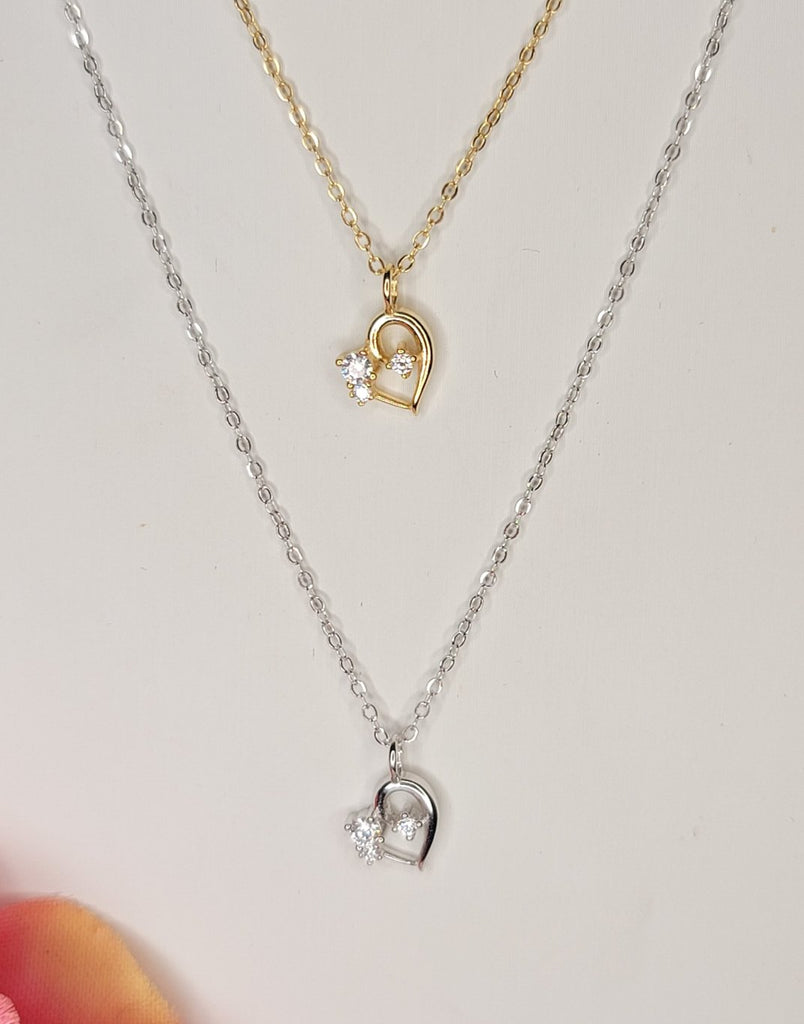 .925 Sterling silver and CZ heart necklace