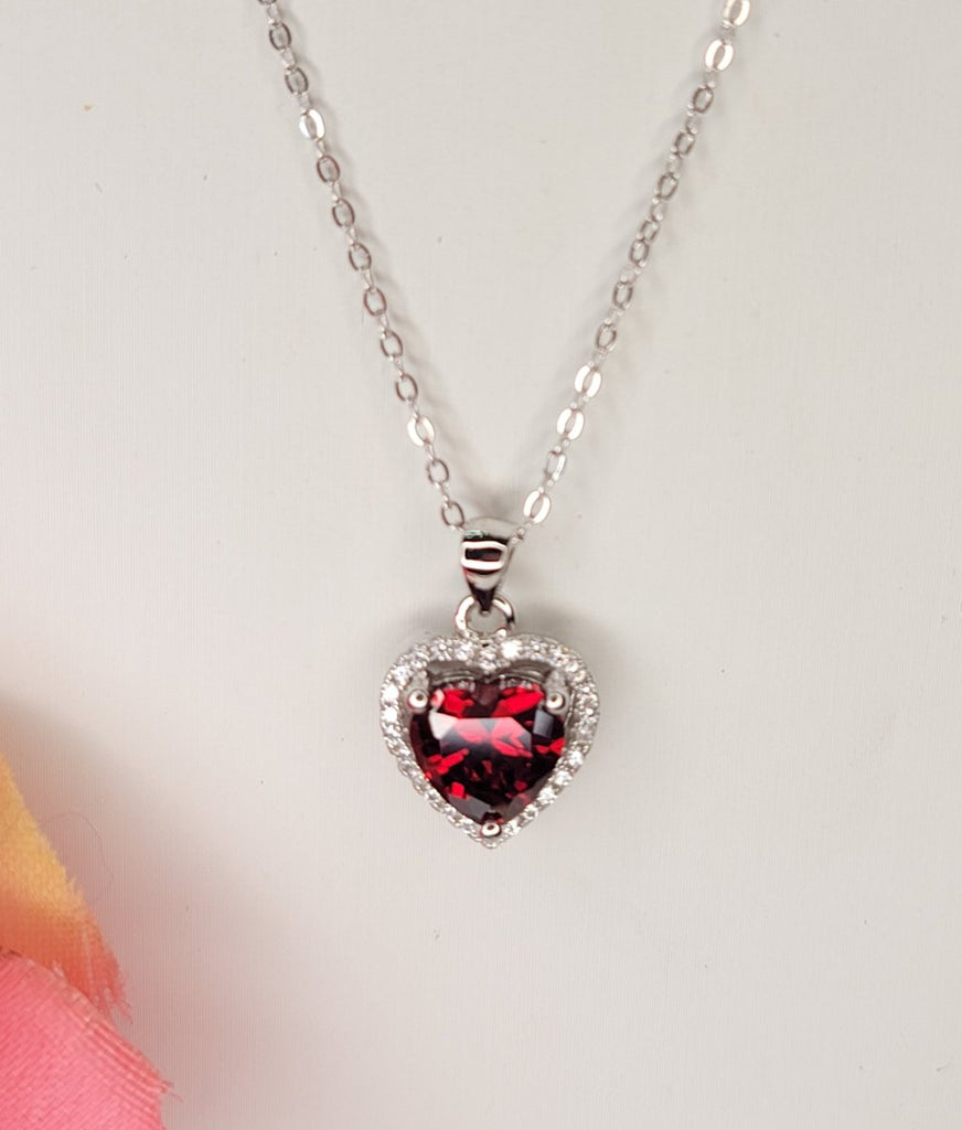 .925 Sterling silver and CZ red crystal heart necklace