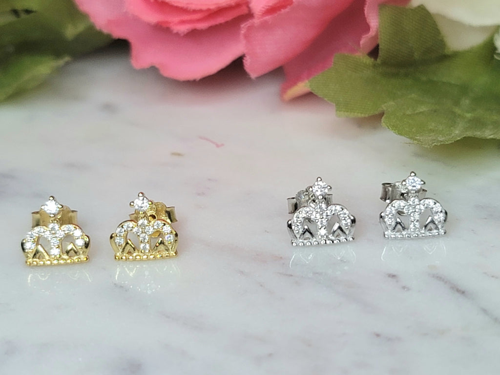 .925 Sterling silver and CZ crown studs