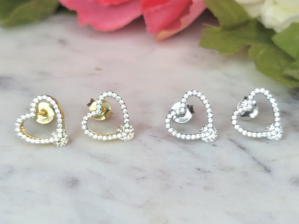 .925 Sterling silver and CZ heart earrings