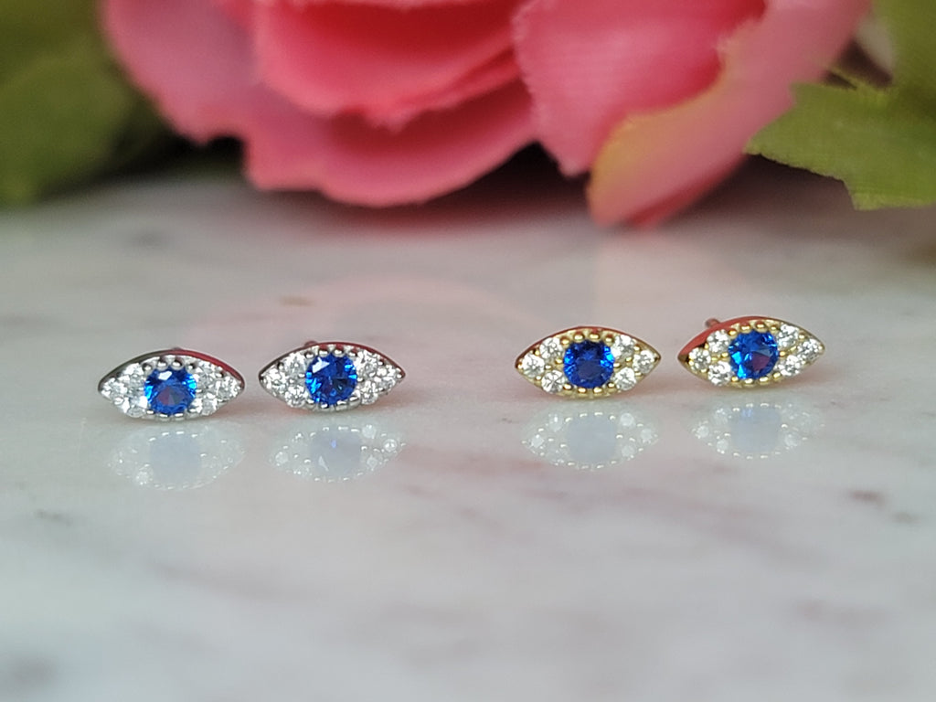 .925 Sterling silver and CZ dainty evil eye studs