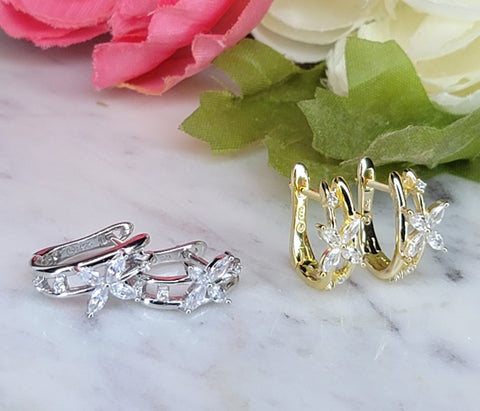 .925 Sterling silver and CZ butterfly hoop earrings