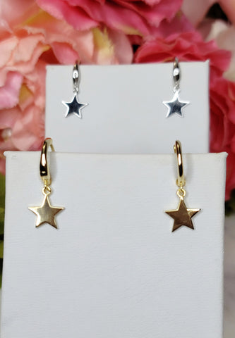 .925 Sterling silver dangling star hoop earrings