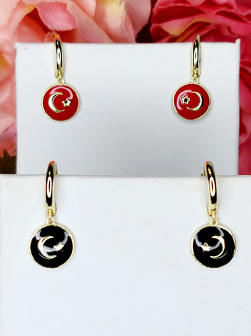 .925 Sterling silver enamel moon and star hoop earrings