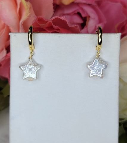 . 925 Sterling silver and freshwater pearl star hoops