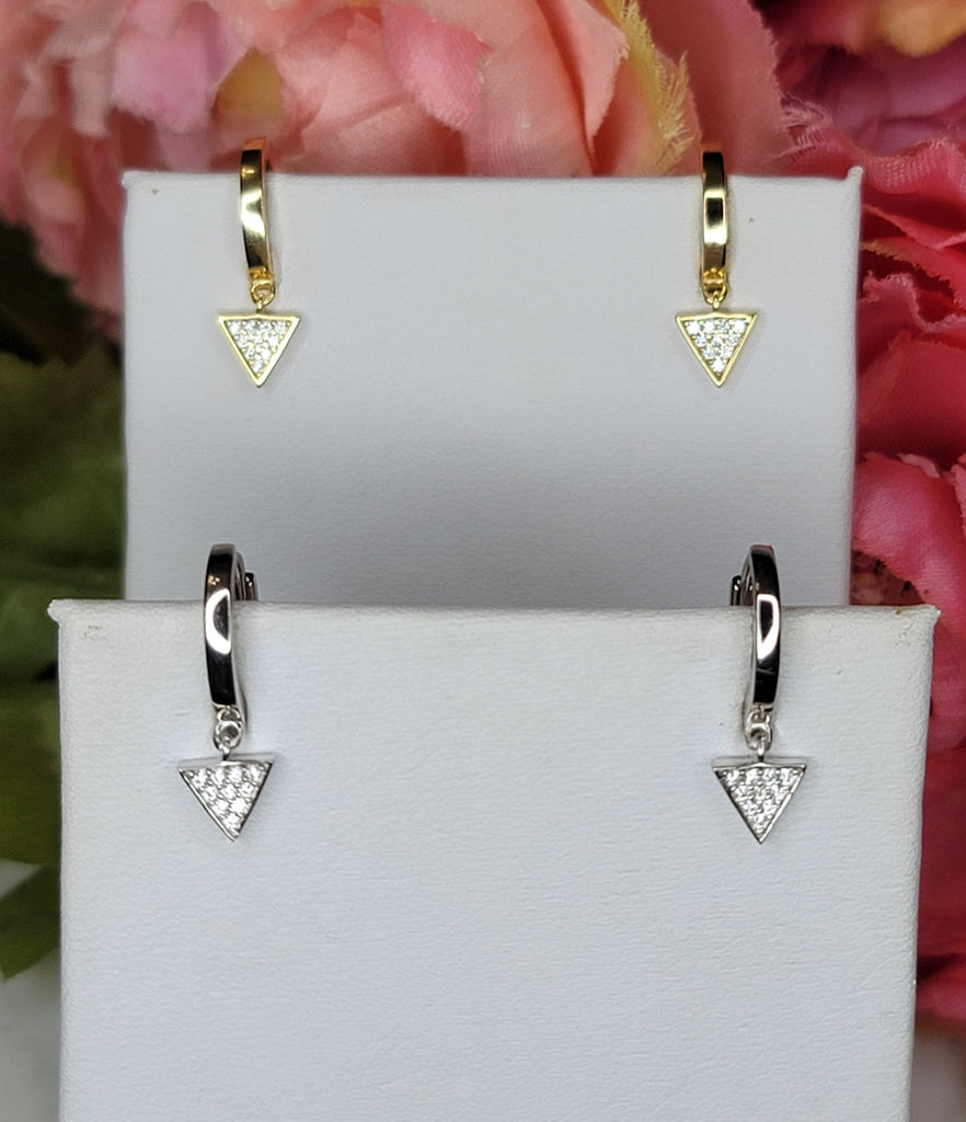 .925 Sterling silver and CZ minimalist dangling triangle hoops