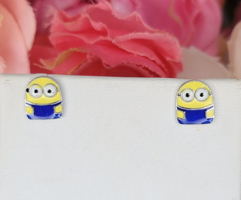 .925 Sterling silver enamel minions earrings